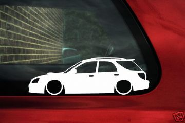 2x LOW Subaru impreza 2nd Gen WRX STi facelift Wagon silhouette outline stickers